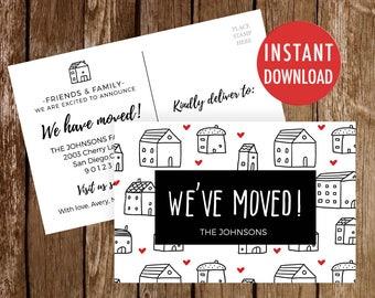 Change Of Address Etsy - New address postcards template