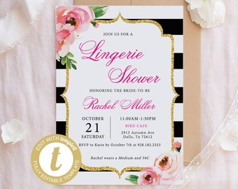 floral lingerie shower invitation template kate lingerie invitation printable spade bridal shower invite lingerie party invitation diy