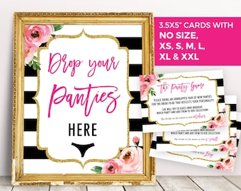Panty Game Card, Drop Your Panties Sign, Kate Bridal Shower Games, Floral Bachelorette Party Game, Printable Lingerie Shower Underwear Game