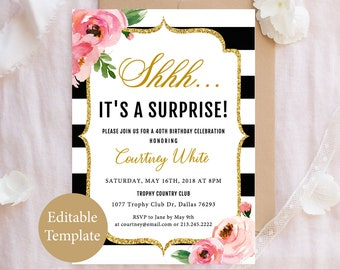Surprise Birthday Invitation Template Adult Party 30th 40th 50th 60th Shhh Its A DIY