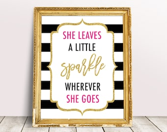 She Leaves A Little Sparkle Wherever She Goes Sign, Kate Bridal Shower Decor, Spade Inspired, Stripes Shower Decorations, Kate Baby Shower