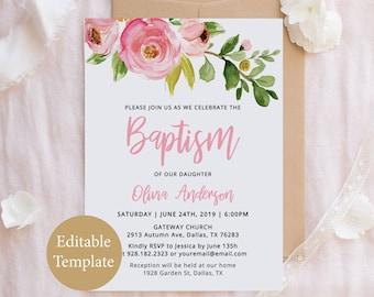 Baptism Invite Girl Etsy