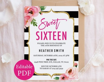 Sweet Sixteen Invitation Pink And Gold 16th Birthday Party Invite Printable 16 Girl Editable PDF