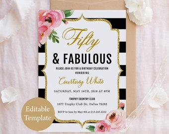 Fifty And Fabulous Birthday Invitation Template 50 Black Gold Adult Invite 30th 40th 50th