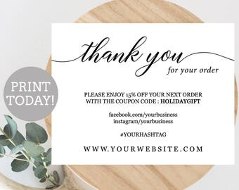 Navy Business Thank You Card Template Etsy Seller Thank You Etsy