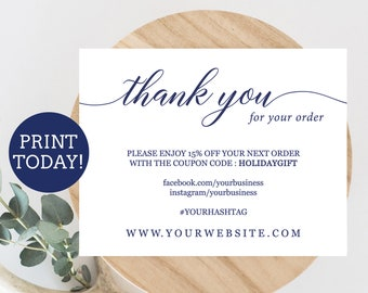 Business thank you card editable template etsy seller thank etsy navy business thank you card template etsy seller thank you card printable small business cards navy blue printable packaging inserts wajeb