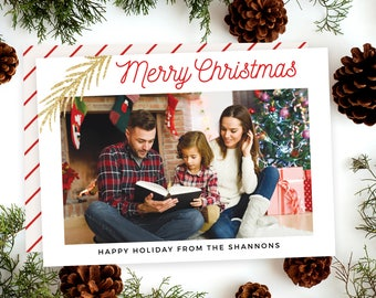 Merry Christmas Card Printable, Modern Holiday Photo Card Digital, Personalized Christmas Holiday card, Printed Photo Christmas Card 5x7