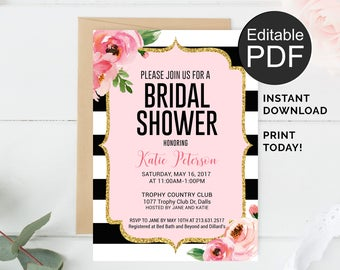 kate bridal shower invitation template black stripes invitation spade bridal shower invitations printable bridal shower invite editable