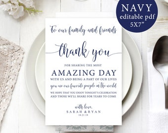 Wedding Thank You Note Template Wedding Table Thank You Etsy
