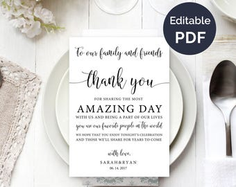 wedding thank you note template wedding table thank you thank you card reception thank you cards guest thank you diy template - Wedding Thank You Cards