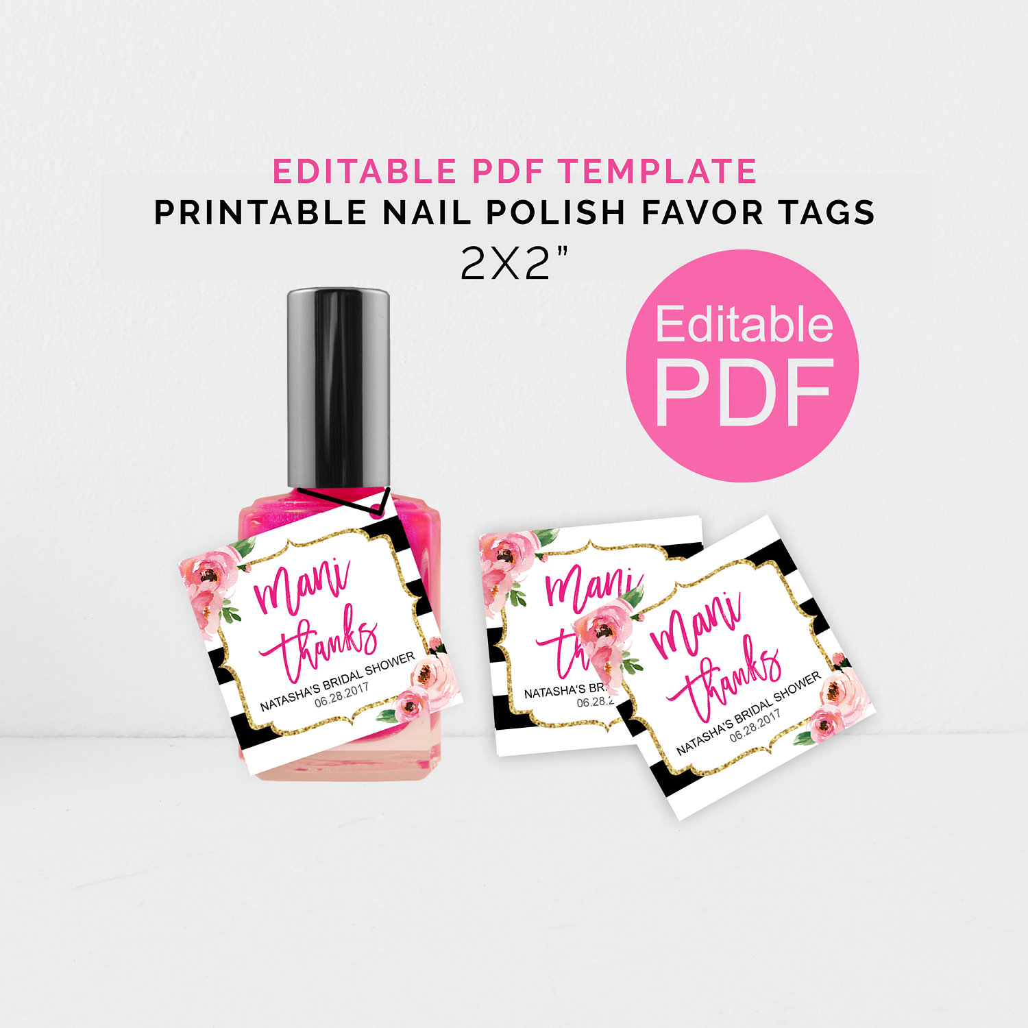 Personalized Mani Thanks Tags Printable Kate Shower Nail
