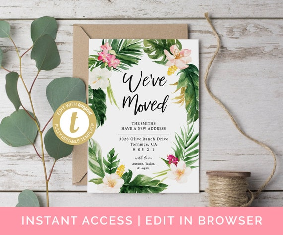 We Ve Moved Cards Moving Announcement Editable Template Home Sweet
