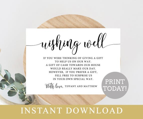 Wishing Well Card Editable Template Printable Wedding Insert Diy