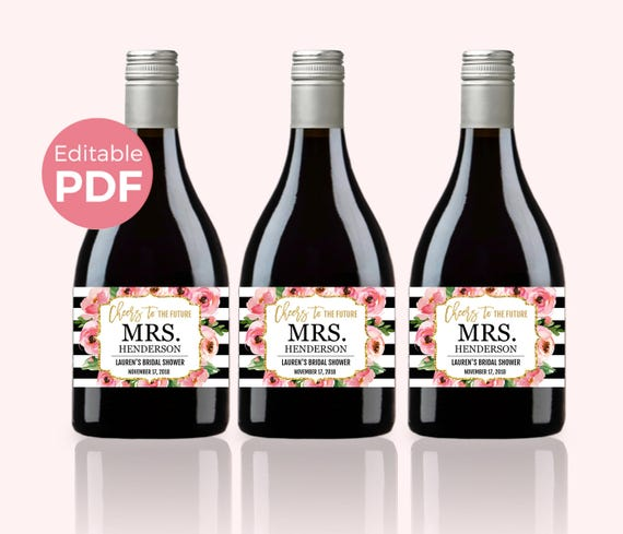 Floral Mini Wine Bottle Labels PDF Kate Bridal Shower