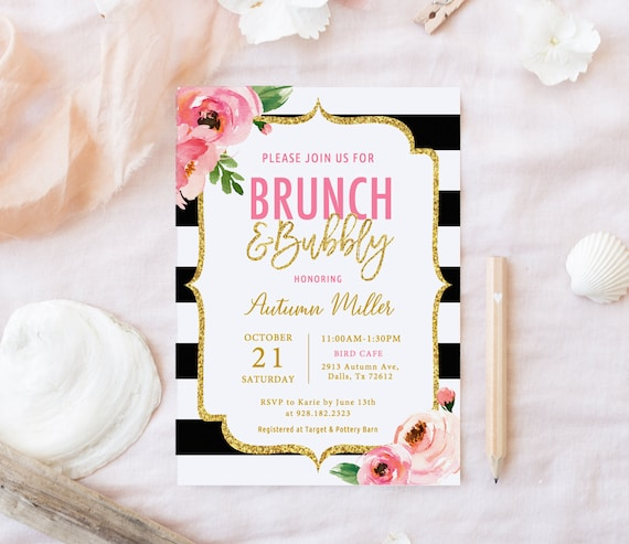 Kate Brunch And Bubbly Bridal Shower Invitation Template Etsy