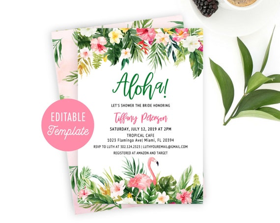 tropical bridal shower invitation template aloha bridal etsy