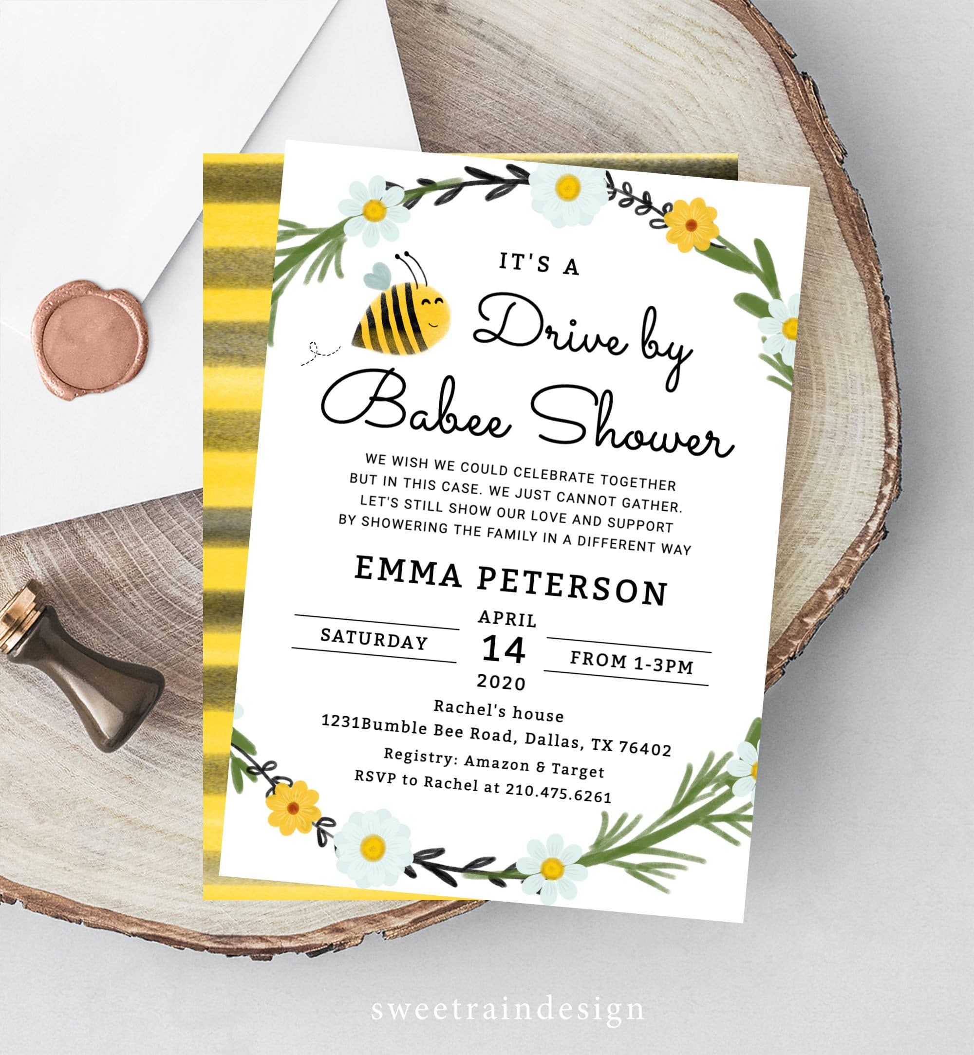 A little honey is on the way editable instant download D10757 girl baby shower invitation template bee theme baby shower invite honeycomb