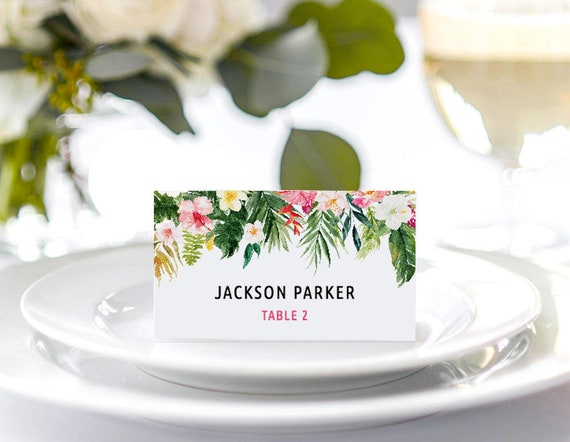 Tropical Place Card Template Tropical Food Tent Card Diy