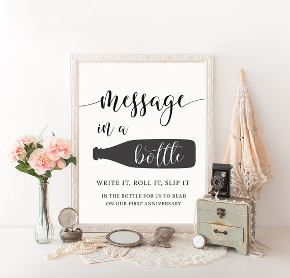 Message in a bottle sign Wedding guest book sign Beach wedding signs Bottle guest book Summer wedding sign Beach guest book Nautical wedding