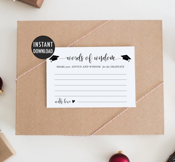 Printable Words Of Wisdom For Graduate Cards Advice For The Graduate Cards Diy Graduation Party Ideas Grad Party Decor Graduation Sign By Sweet Rain Design Catch My Party