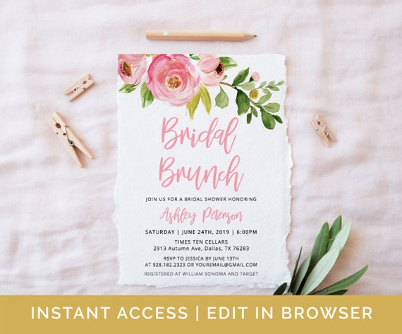 c9a715df1a11 Bridal Brunch Invitation Template