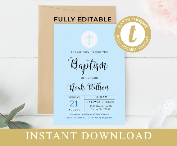 Printable Baptism Invitation Template Baby Boy Baptism Invite