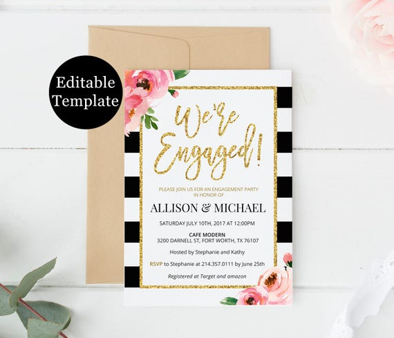 Kate Engagement Party Invitation Template We Re Engaged Printable