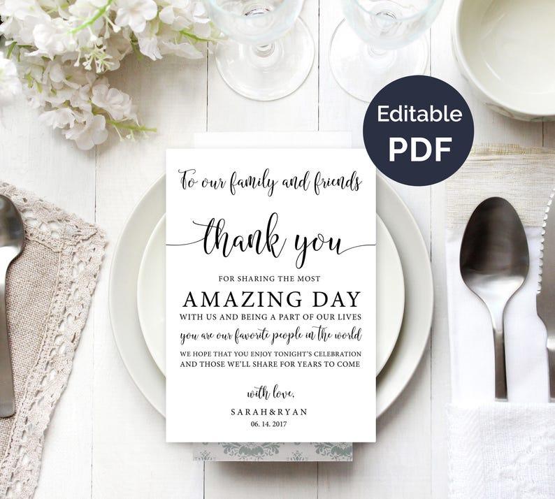 Wedding Thank You Cards.Wedding Thank You Note Template Wedding Table Thank You Thank You Card Reception Thank You Cards Guest Thank You Diy Template