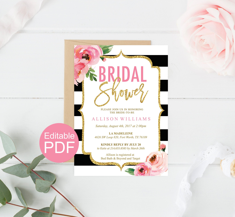 0ce3494618f Floral Bridal Shower Invitation Template Kate Bridal Shower