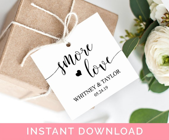 smore love tags wedding favor tags smore favor tags template