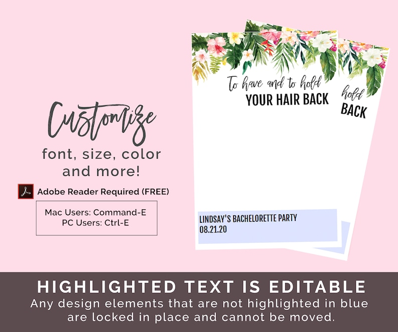 graphic relating to To Have and to Hold Your Hair Back Free Printable known as Tropical Hair Tie Favors Card Template Do-it-yourself Hair Tie Choose Printable, Toward Include And Toward Keep, Bachelorette Get together Favors, Your Hair Again Down load