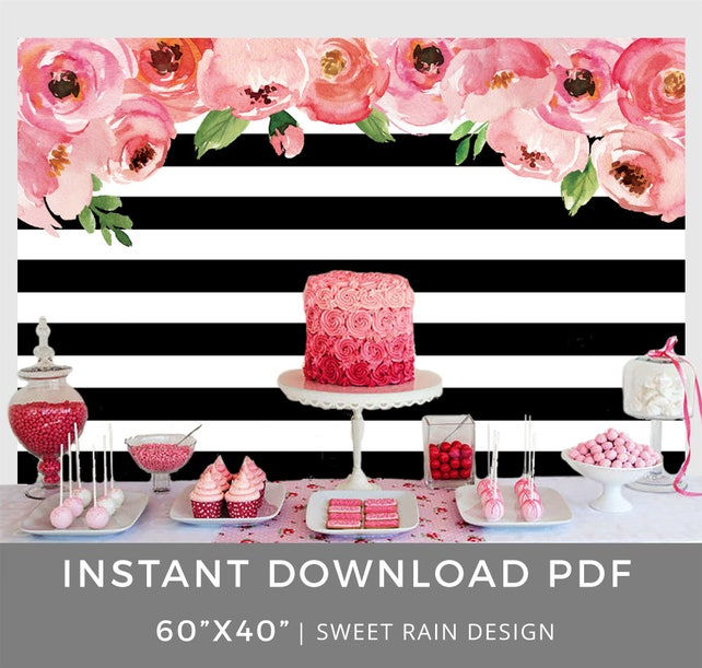 image about Printable Backdrop named Kate Bridal Shower Printable Backdrop, Black and White