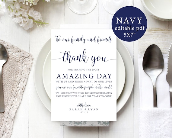 navy wedding thank you notes template reception thank you etsy