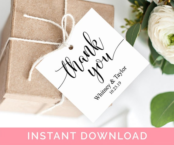 wedding thank you tags instant download wedding favor tags