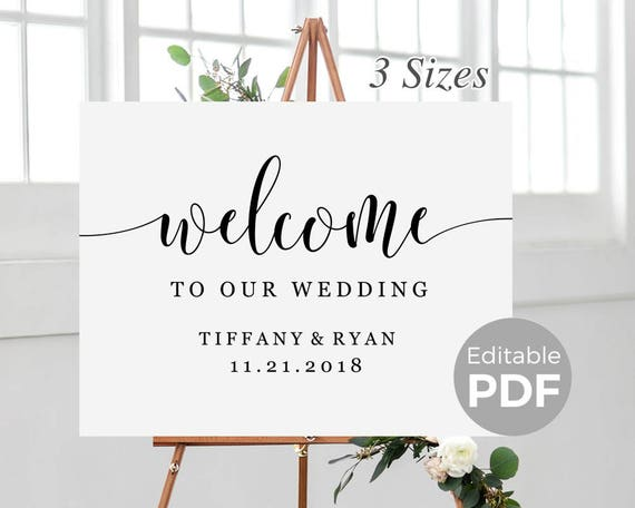 Rustic Welcome Sign Template For Wedding Printable Modern Wedding