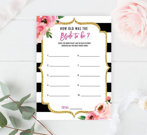 How Old Was the Bride Game  Wedding Shower Games Printable