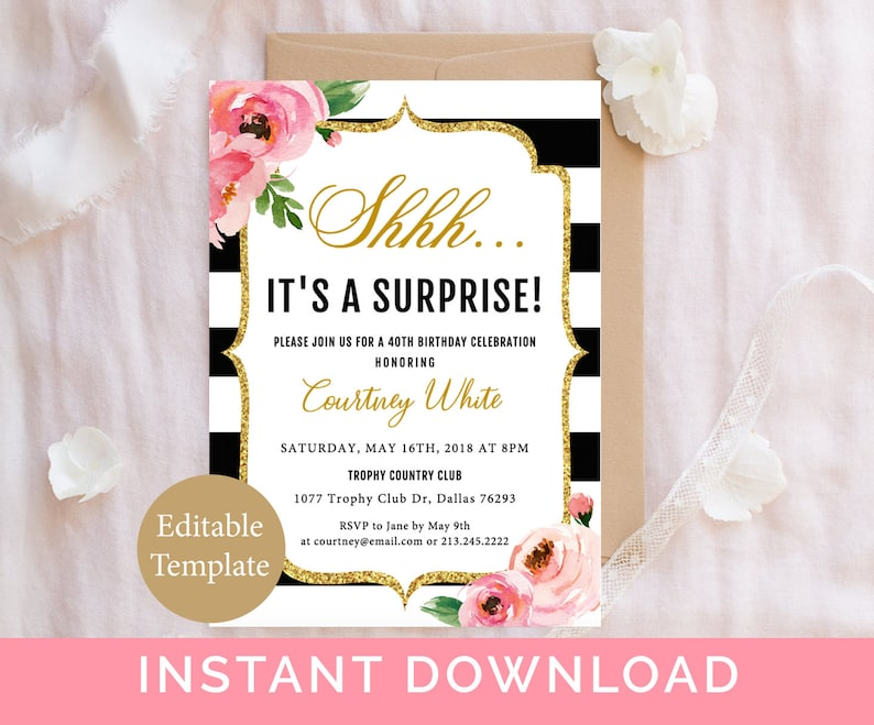 Surprise Birthday Invitation Template Adult Party