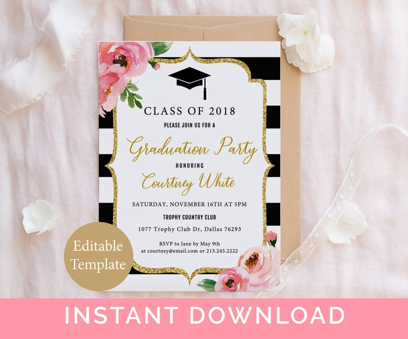Floral Graduation Party Invitation Template Kate Grad Printable Class Of 2019 College Invite Instant Download