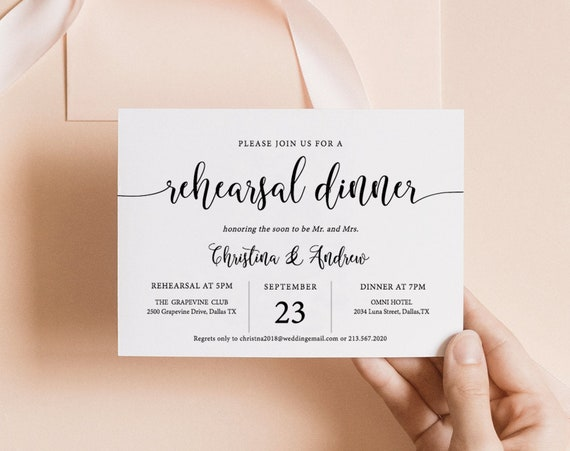 Rustic Rehearsal Dinner Invitation Template Wedding