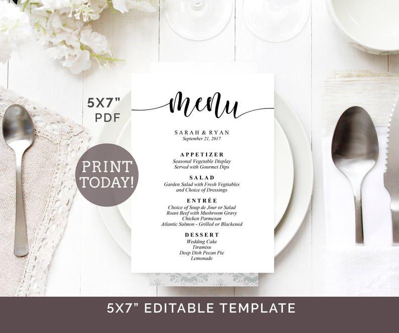 Wedding Menu Template 5 X7 Menu Printable Editable Wedding Menu Diy Reception Menu Calligraphy Menu Cards Rustic Menu Template Pdf