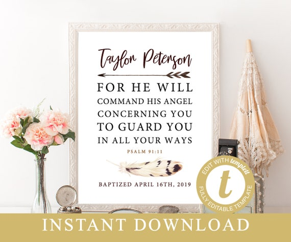 picture regarding Psalm 91 Printable called Baptism Printable, Customized Baptism Reward Template