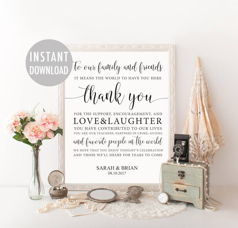 wedding thank you sign template thank you card sign guest
