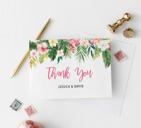 Tropical Thank You Card Printable Thank You Note Card Editable Template Tropical Theme Wedding Thank You Folded Card Instant Download By Sweet Rain Design Catch My Party