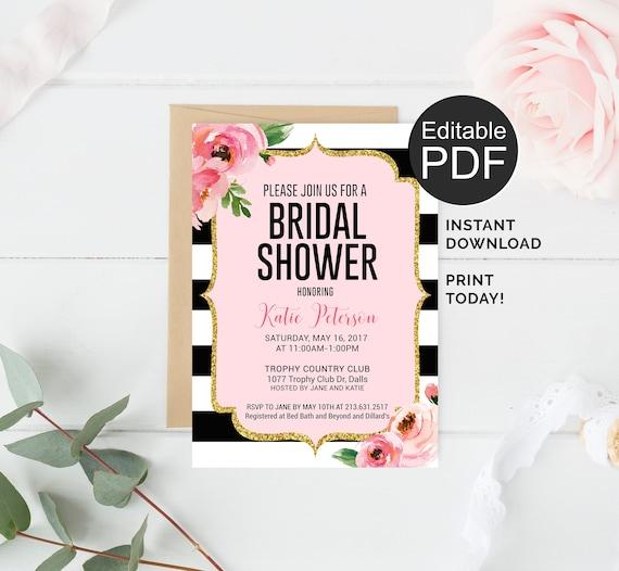 Kate Bridal Shower Invitation Template Etsy