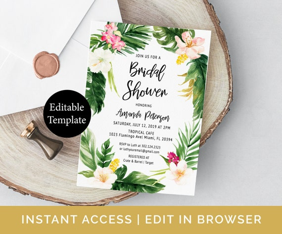 Tropical Bridal Shower Invitation Template Etsy