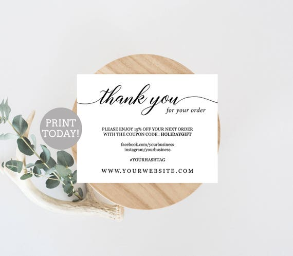 photograph about Etsy Printable titled Workplace Thank Your self Card Template, Etsy Supplier Thank By yourself Card