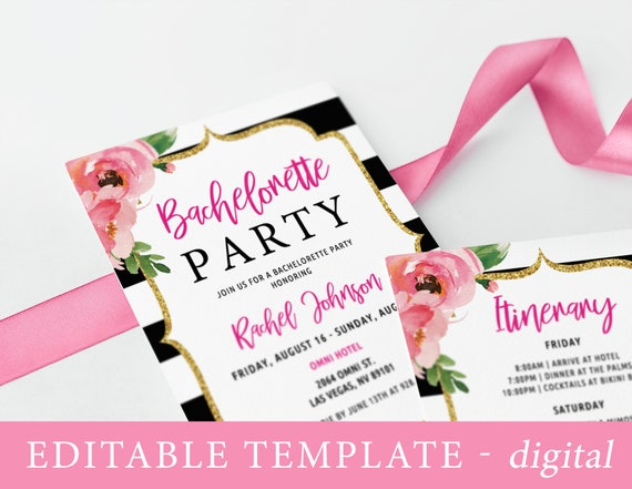 Bachelorette Itinerary Template | Floral Bachelorette Party Invitation With Itinerary Template Etsy