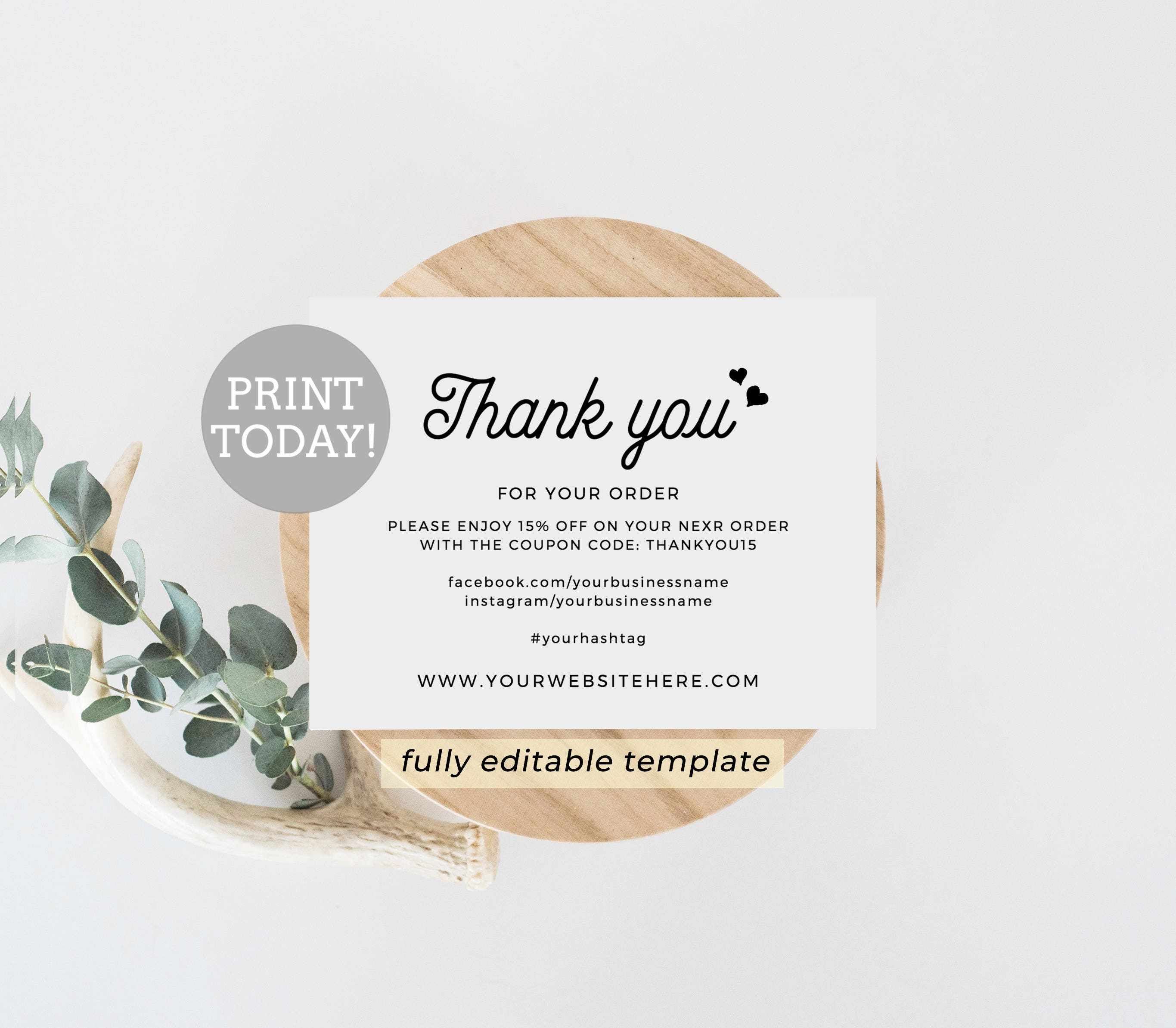 Business Thank You Card Editable Template Etsy Seller ...
