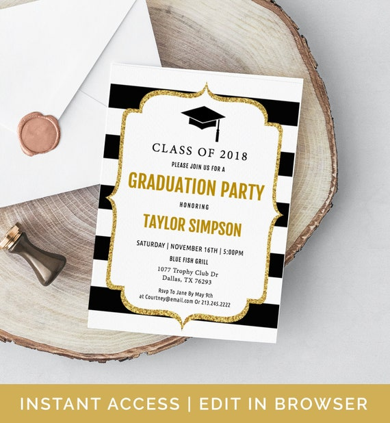 graduation invitation template  grad announcement  class