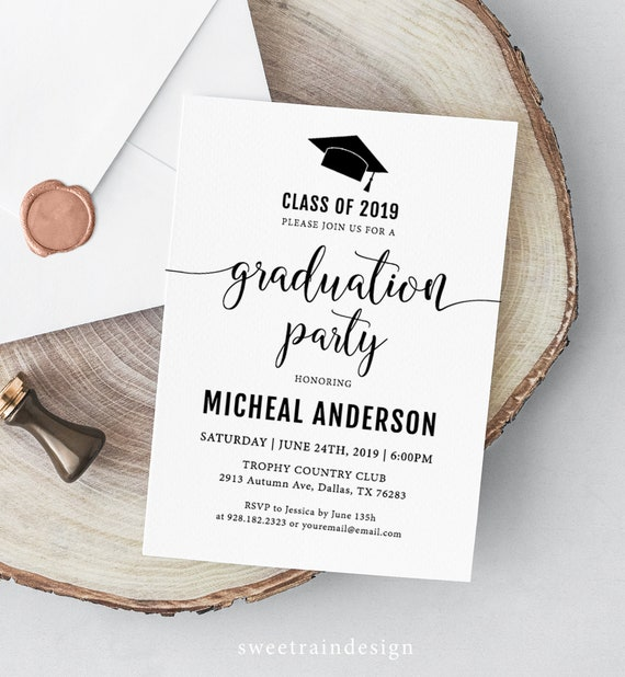 Graduation Party Invitation Template, Grad Party Invites